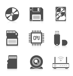 Digital storage data icons vector image