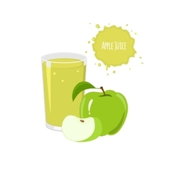Apple juice with ripe apples and slices vector