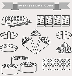 Big black and white icon set of sushi vector