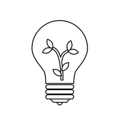 bulb light with leafs ecology symbol vector image vector image