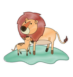 cartoon lion and cub over grass in colored crayon vector image vector image
