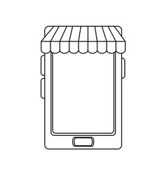 Cellphone with store sunshade ecommerce or online vector