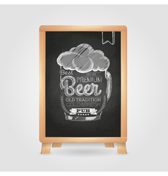 Chalk drawing typography beer glass vector