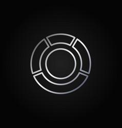 Circle diagram silver icon vector