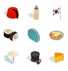 Cultural diversity icons set isometric style vector