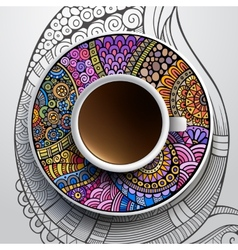 Cup of coffee and hand drawn floral ornament vector image vector image