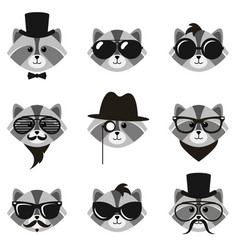 Cute cartoon hipster raccoons with mustaches and vector
