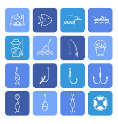 Fishing thin line icons set vector