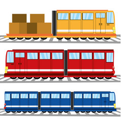 Flat set icon train transportation vector