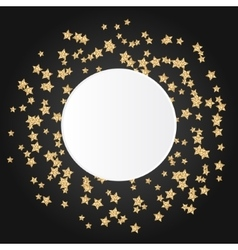 Gold star sparkles on black background with white vector