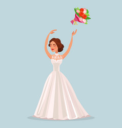 happy woman bride character throwing bouquet vector image vector image