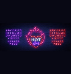 hot love symbol for valentine s day neon sign vector image vector image