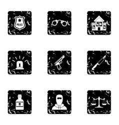 Illegal action icons set grunge style vector