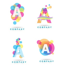 Letter A colored logo set vector image vector image