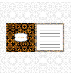 notepad design with yelow geometric pattern vector image vector image