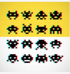 pixel little retro monsters with screen distortion vector image