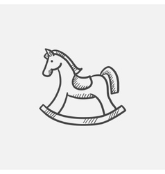 Rocking horse sketch icon vector image