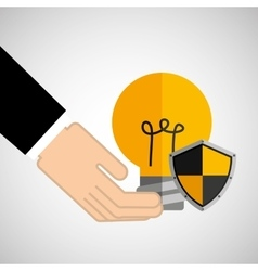 Security concept hand with bulb vector