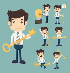 Set of businessman with key vector