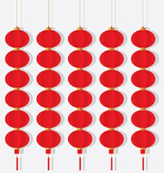 Set Of Chinese Red Lanterns vector image vector image