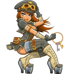 Sexy Steampunk Aviator vector image