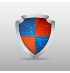 Shield with microchip vector image