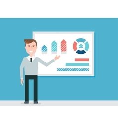 Speaker Giving Presentation Using Diagram Charts vector image vector image