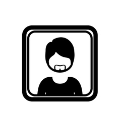 square border with silhouette half body man with vector image