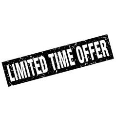 square grunge black limited time offer stamp vector image vector image