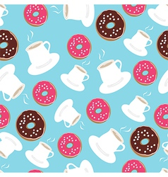Tea and donuts seamless background pattern vector image