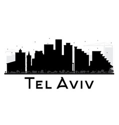 Tel aviv city skyline black and white silhouette vector