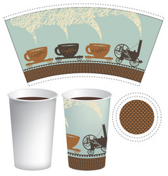 template paper cup for hot drink vector image vector image