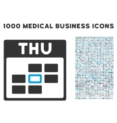 Thursday calendar grid icon with 1000 medical vector
