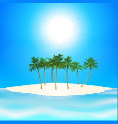 tropical island and palm trees background vector image