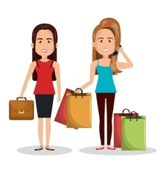 Two woman worker and buy design vector