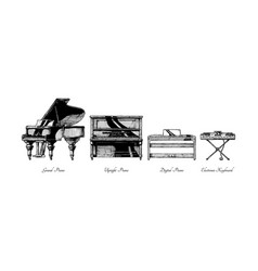 Types of piano vector