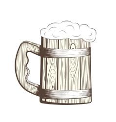 Wooden Beer Mug vector image