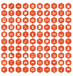 100 pensil icons hexagon orange vector