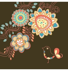 Floral card in bright colors vector image