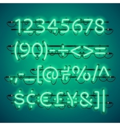 Glowing neon green numbers vector