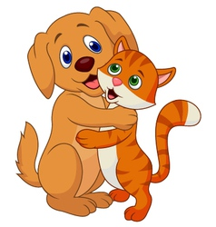 Cute dog and cat cartoon embracing each other vector image