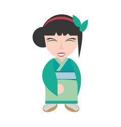 pretty geisha green kimono vector image