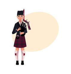 Scottish bagpiper piper in national clothes vector