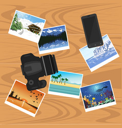 photocamera smartphone and photographs on table vector image