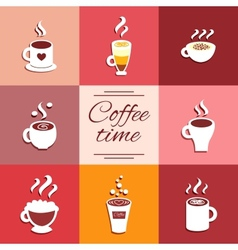 Collection of cup icons with hot coffee drinks vector