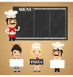 Chefs presenting empty banners vector