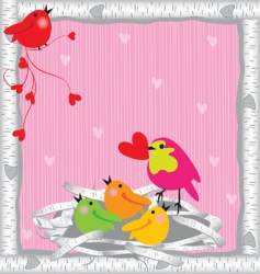 Baby birds and mommy valentine vector