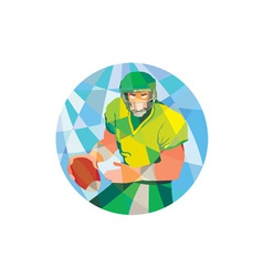 American football quarterback passing low polygon vector