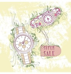Decorative stylish womens and mens watches vector