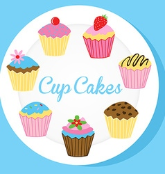 Cup cakes on a white plate vector